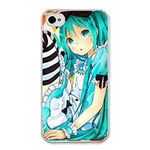 Generic for iPhone 4 4s Cell Phone Case White Hatsune Miku As Alice Custom MJUYMJGYT4116