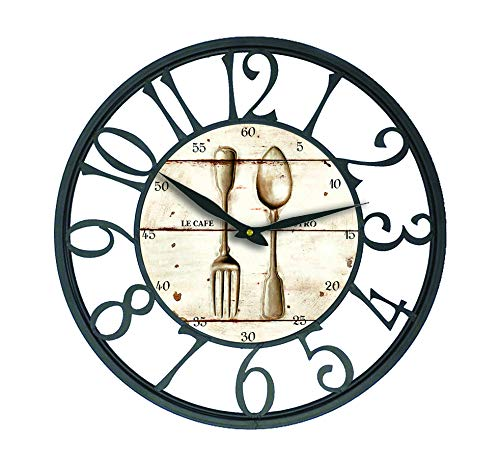 Karen R. Ortega Farm House Wall Clock with Knives and Forks Design Theme and Black Iron Frame 16 inch ()