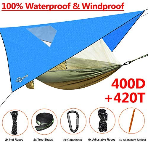 Trekassy 660lb Double Camping Hammock 2 Person with Mosquito Net and 10ft Tree Straps for Outdoor Hiking Travel 118