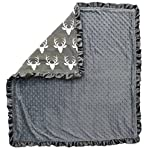 Dear-Baby-Gear-Baby-Blankets-Antlers-on-Grey-Grey-Minky-32-Inches-by-32-Inches