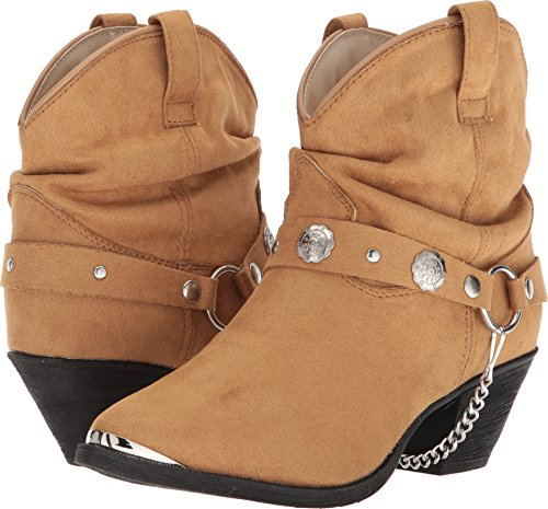(Dingo Women's Leather Concho Strap Slouch Booties Pointed Toe Tan 6.5 M)