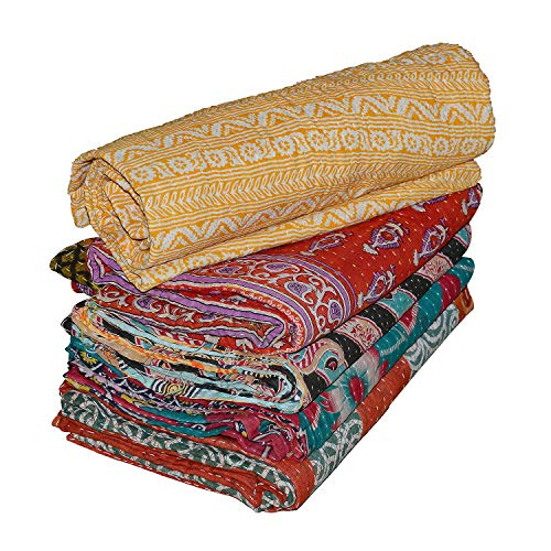Real Online Seller Vintage Handmade Kantha Quilts, Reversible Throws Whole Sale Tribal Kantha Quilts Vintage Cotton Bed Cover Throw Old Assorted Patches Made Rally (Sale For Online Quilts)