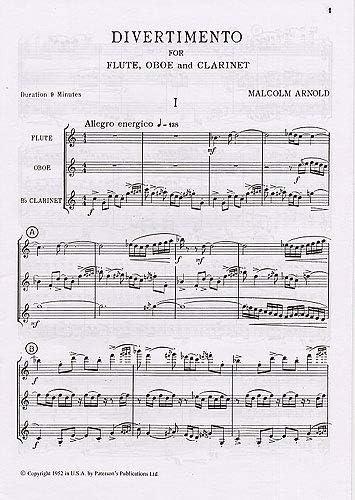 Malcolm Arnold: Divertimento For Wind Trio Op.37 (Score ...