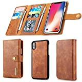 Cheap Aiwe iPhone XS Case Wallet – iPhone X [12 Slots] Detachable Slim iPhoneX (5.8 inch) Leather Magnetic Flip Stand Case Men with Card Holder (Brown)