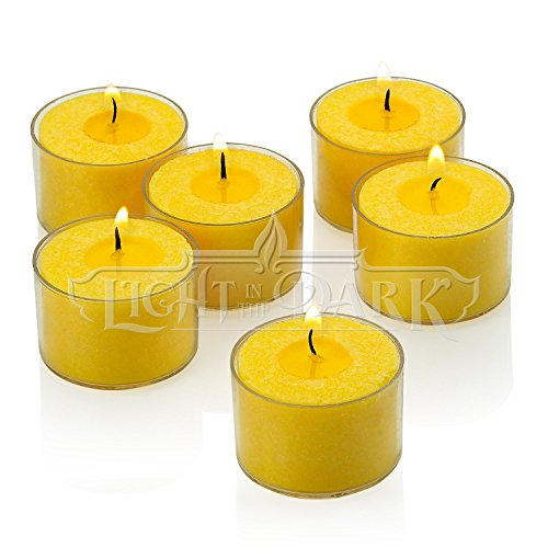 Citronella Tealight Candles with Clear Cup - Set of 72 Summer Scented Citronella Tea Lights - 8 Hour Burn Time by Light In the Dark