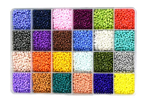 Mandala Crafts Glass Seed Beads, Small Pony Beads Assorted Kit with Organizer Box for Jewelry Making, Beading, Crafting (Round 3X2mm 8/0, 24 Assorted Multicolor Set Combo 2)