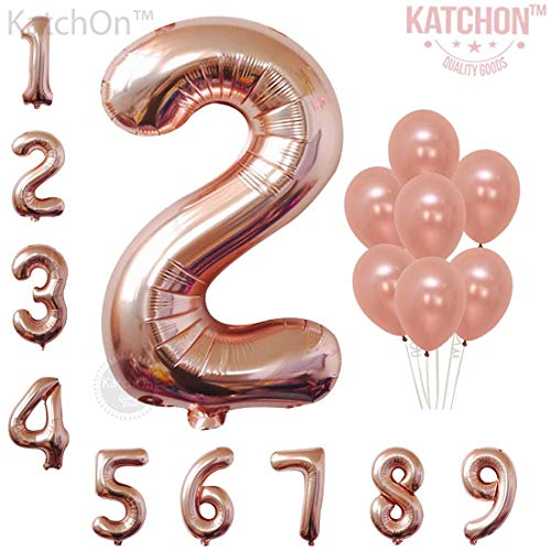 KATCHON Rose Gold Number 2 Balloon - foil Mylar Rose Gold Balloons Party Decorations Rose Gold Party Supplies for Engagement Birthday Baby Shower Wedding 32 Foot Balloons String -