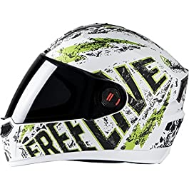Steelbird SBA-1 Free Live Matt White with Green with Plain visor,580mm