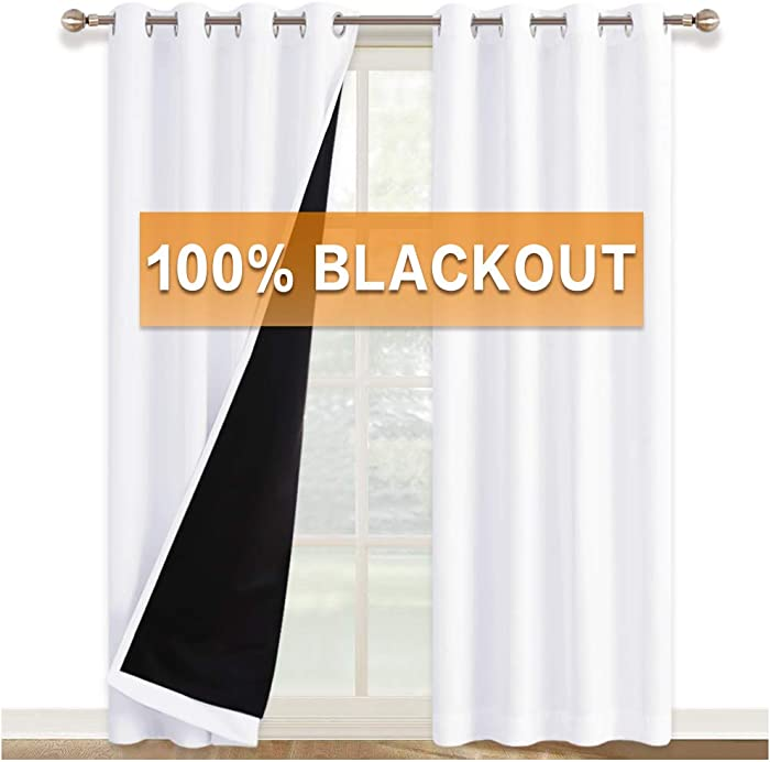 RYB HOME White Curtains - 2 Layers 100% Blackout Curtains Shades Thermal Insulated Window Treatment Grommet Drapes for Office Bedroom Living Room, 52 x 84 inches Long, Pure White, 2 Panels