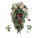 Amaping Christmas Tree Pinecone Cane Hanging Ornament with Bowtie Wreath Pendant Cedar Branch Wall Hanging Ornaments Kid Girl Bedroom Home Sweet Party Decor (Green)