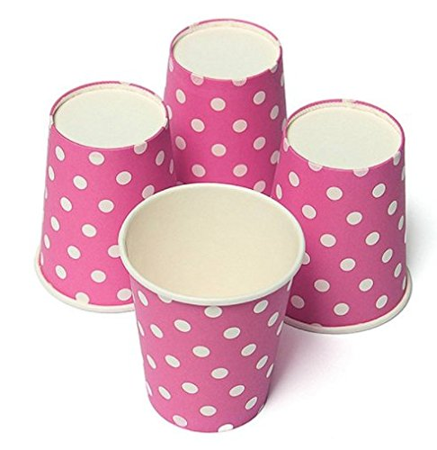 50pcs Polka Dot Paper Cups Case Disposable Tableware Wedding Birthday Decorations Pink - The Warriors Baseball Gang Costume