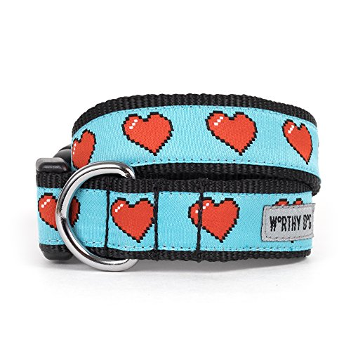 The Worthy Dog   Graphic Red Heart   Adjustable Designer Pet Dog Collar , Blue, Small