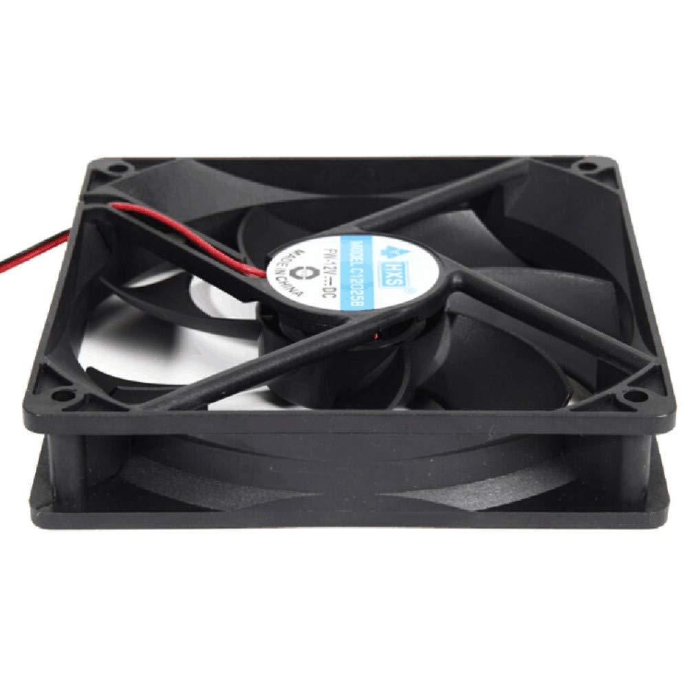 120 x 120 x 25mm EERTX Ventilateur de Refroidissement Silencieux pour Ordinateur//PC//CPU 7 pales de Ventilateur Noir