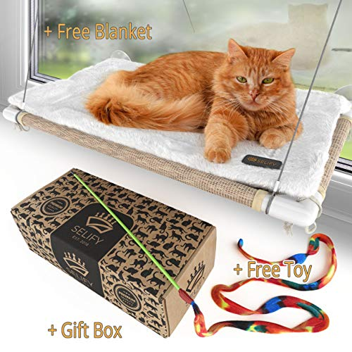 Cat Window Perch (Holds Up to 60 Lbs) - Strong, Durable Cat Perch Window Cat Bed - Custom-Engineered Suction Cups - Free Cat Window Hammock Cushion and Cat Toy - No Tools Required!