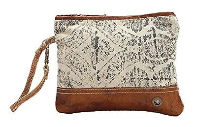 Myra Bag Floral Upcycled Canvas Wristlet Bag S-1019