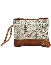Myra Bag Floral Upcycled Canvas Wristlet Bag S-1019, Brown, Small
