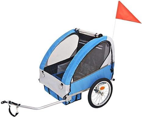 vidaXL Kinder Fahrradanhänger Grau Blau 30kg Kinderanhänger ...