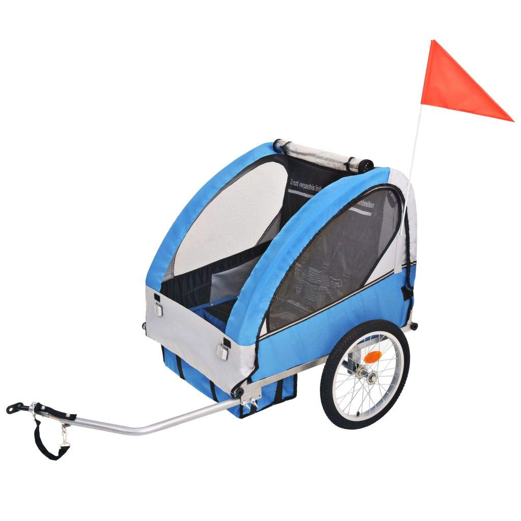 vidaXL Kids Bicycle Trailer Grey and Blue 30kg Stroller Jogger Pushchair