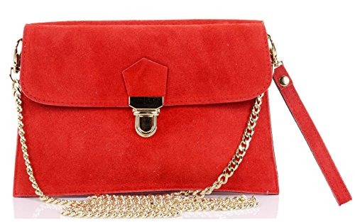2 Push Sacchi Suede Shoulder Primo Italian Red Bag Crossbody Clip Ladies or Wrist Leather Bag Handbag wSx1XB
