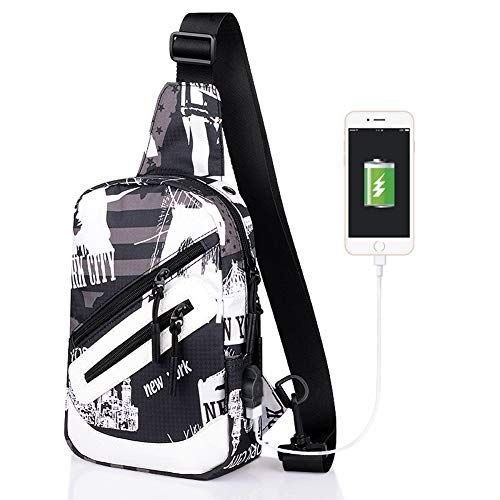 Bag ECHERY and Men Bags Shoulder Sling No Pack for Crossbody 3 Outdoor Charging Backpack Port with Women Chest 55gqZr6n