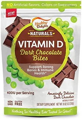 Healthy Delights Naturals, Vitamin D Dark Chocolate Bites, Supporting Strong Bones, Amazingly Delicious Snacks, Non- GMO, Gluten Free, 30 Ct