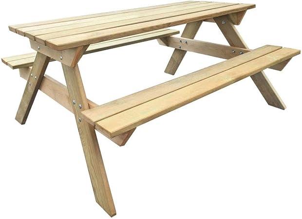 FZYHFA Table de Pique-Nique en Bois 150 x 135 x 71,5 cm ...
