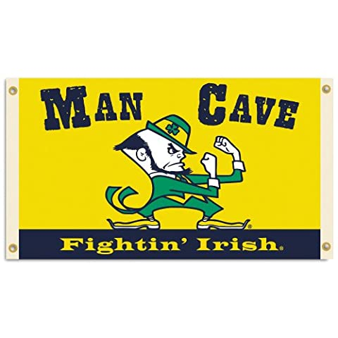 NCAA Notre Dame Fighting Irish Man Cave Flag with 4 Grommets, 3 x 5-Feet (Man Cave Georgia)
