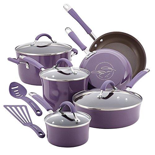 Premium 12 Piece Cookware Set Nonstick Ceramic Coating 10 Piece, Purple, Scratch Resistant Toxic Free - Oven Safe, No PFOA, No Cadmiun, No Lead Emerilware Non Stick Cookware