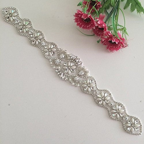 Rhinestone Applique Sash Wedding Belt
