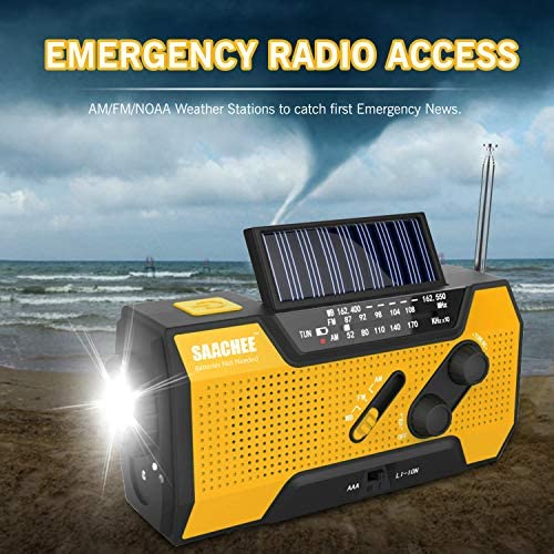 Saachee Solar Radio: Hand Crank Portable Radio, NOAA Weather Radio for Household and Outdoor Emergency with AM/FM, LED Flashlight, Reading Lamp, 2000mAh Power Bank USB Charger and SOS Siren/Flashing! 51quBEvcSkL