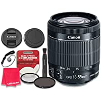 Canon EF-S 18–55mm f/3.5–5.6 IS STM Lens with Elite Optics Commander Pro HD Series Ultra-Violet Protector UV Filter & Circular Polarizer CPL Multi-Coated Filter - International Version