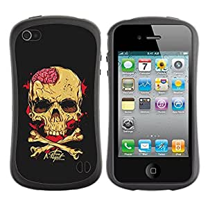 Suave TPU GEL Carcasa Funda Silicona Blando Estuche Caso de protección (para) Apple Iphone 4 / 4S / CECELL Phone case / / Black Brain Blood Crossbones Skull /