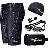 youyou Swimwear Suits Men Swim Jammers Set Solid Jammer Swimsuit with Drawstring