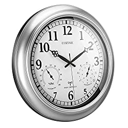 Belovedkai 18-Inch Wall Clock, Radio Controlled Wall Clock Automatically Receive Signals Weather Forecast
