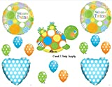 NEW Welcome Twins Turtle & Frogs Baby Shower Balloons Decorations Supplies Boy