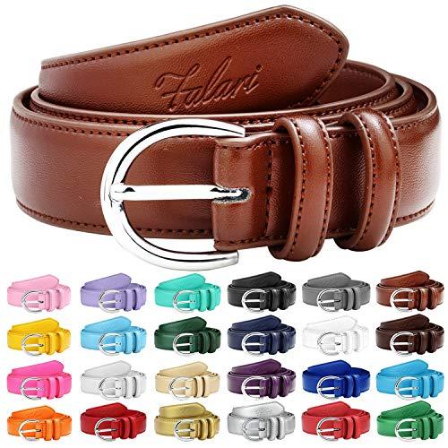 Prong Fashion - Falari Women Genuine Leather Belt Fashion Dress Belt With Single Prong Buckle 6028-LightBrown-S
