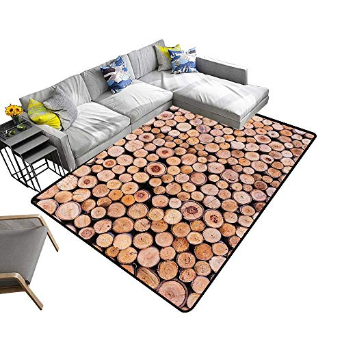 Contemporary Indoor Area Rugs Mass of Wood Log Forest Tree Industry Group of Cut Lumr Circle Stack Carpet for Children Home Decorate 22 x 36 inch