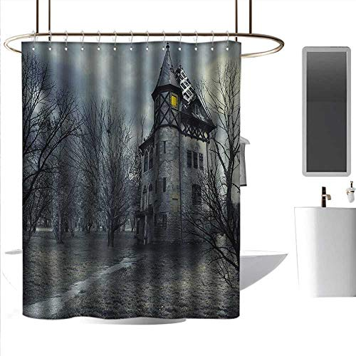 alisoso Shower Curtain Hooks Halloween,Halloween Design with Gothic Haunted House Dark Sky and Leafless Trees Spooky Theme,Teal Printing Curtains for Bathroom Shower W108 x L72 -