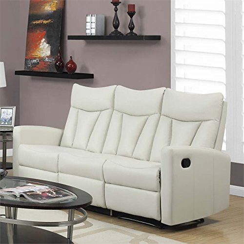 Monarch Specialties I 87IV-3 Reclining Sofa in Ivory Bonded Leather