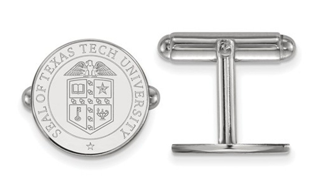 Rhodium-Plated Sterling Silver Texas Tech University Crest Cuff Links, 15MM