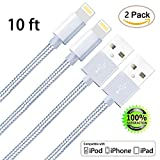 Image of ZTeanok Nylon Braided iPhone Cable, Lightning Cable to USB Charging Charger for iPhone 7/7 Plus/6/6 Plus/6S/6S Plus, SE/5S/5, iPad, iPod Nano 7 - 10' (3 m) -Silver - 2 Piece