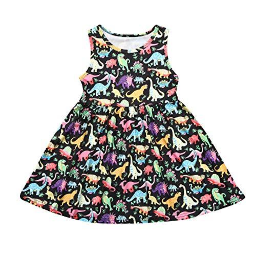 MALLOOM Summer Toddler Baby Girl Sleeveless Cartoon Dinosaur Print Dress Dresses Clothes Black