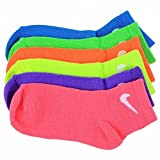 Nike Girl's 6-Pair Neon Assorted Quarter Performance Sport Socks Sz: 6-7; Fits 13-3
