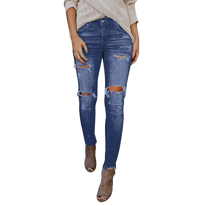bfcfcee7c8 Sayla Vaqueros Mujer Push Up Tejanos Sexy Moda Casual Cintura Alta SóLido Flaco  Agujero Denim BotóN Stretch Slim Pantalones Pantorrilla Longitud LáPiz  ...