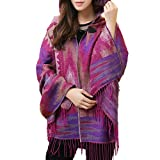 MZLIU Womens Bohemian Cape Cloak Poncho Jacket Shawl Scarf Wraps