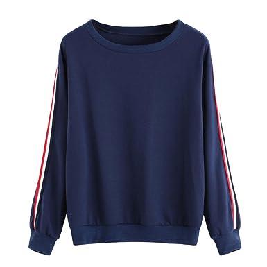 5e2787d2dfd8e7 Bluestercool Women Navy Striped Long Sleeve Sweatshirt, Ladies Sport  Pullover Tops Blouse (S,