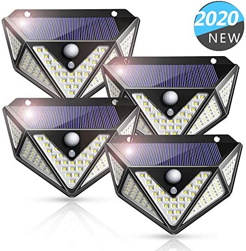 Solar Lights Outdoor, 109 LEDs Newest Upgraded 270 Five-Sided Wider Angle, Solar Motion Sensor Lights with 3 Modes, Solar LED Lights for Fence Garage Yard Driveway Garden Patio 4 Pack