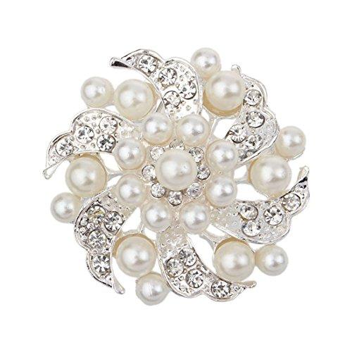 Coromose women Noble All-match Rhinestone Pearl Prom Brooch Pin Jewelry