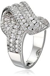 "CZ by Kenneth Jay Lane ""Trend"" Twist Front Cubic Zirconia Ring, Size 7, 6 CTTW"