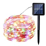 Icicle Starry Solar String Lights, 33ft 100 LED Waterproof Fairy Copper Wire Solar String Lights for Christmas, Patio, Lawn, Garden, Wedding, Party and Holiday Decorations (Multi-Color)